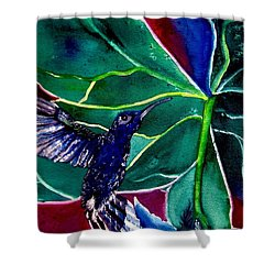 The Hummingbird And The Trillium Shower Curtain by Lil Taylor