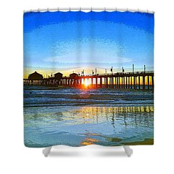 Shower Curtain featuring the photograph The Huntington Beach Pier by Everette McMahan jr