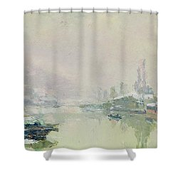 The Ile Lacroix Under Snow Shower Curtain by Albert Charles Lebourg