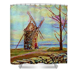 The Ile Perrot Windmill Moulin Ile Perrot Quebec Shower Curtain by Carole Spandau