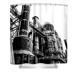 The Industrial Age At Bethlehem Steel In Black And White Shower Curtain by Bill Cannon