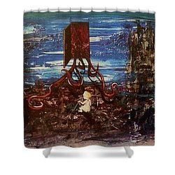 Shower Curtain featuring the painting The Inhuman Condition by Reed Novotny