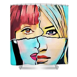 The Inner Struggle Split Personality Abstract Shower Curtain