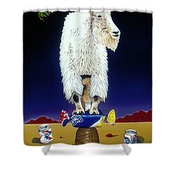 Shower Curtain featuring the painting The Intoxicated Mountain Goat by Paxton Mobley