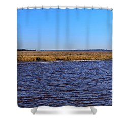 The Intracoastal Waterway In The Georgia Low Country In Winter Shower Curtain by Louise Heusinkveld
