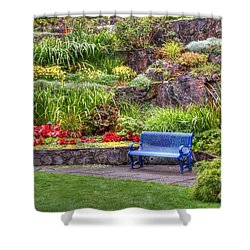 The Inviting Blue Bench Shower Curtain by Myrna Bradshaw