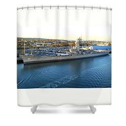 Shower Curtain featuring the photograph The Iowa At Sunset by Joe Kozlowski