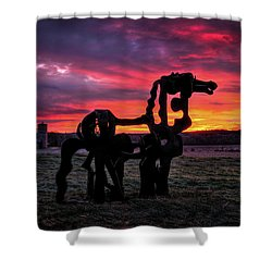 The Iron Horse Sun Up Shower Curtain by Reid Callaway
