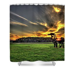 Shower Curtain featuring the photograph The Iron Horse Sunset by Reid Callaway