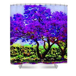Shower Curtain featuring the painting The Jacaranda by Angela Treat Lyon
