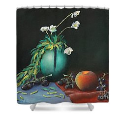 The Jade Vase And Jasmine Shower Curtain
