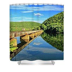 The James River Trestle Bridge, Va Shower Curtain