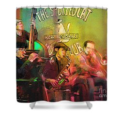 The Jazz Vipers In New Orleans 02 Shower Curtain by Miki De Goodaboom