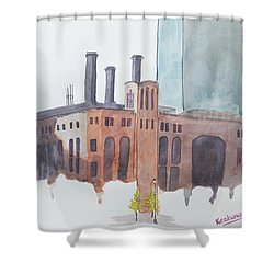 The Jersey City Powerhouse Shower Curtain