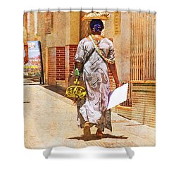Shower Curtain featuring the photograph The Jewelry Seller - Malaga Spain by Mary Machare