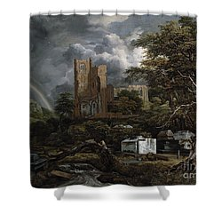 The Jewish Cemetery Shower Curtain by Jacob Isaaksz Ruisdael