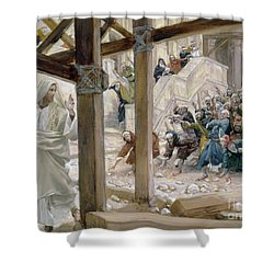 The Jews Took Up Stones To Cast At Him Shower Curtain by Tissot
