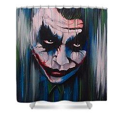 The Joker Shower Curtain by Michael Walden