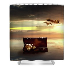 Shower Curtain featuring the digital art The Journey Begins  by Nathan Wright