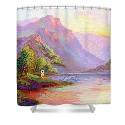 The Joy Of Being Buddha Meditation Shower Curtain