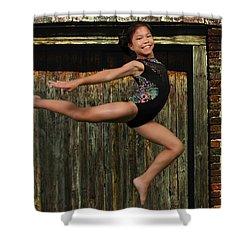 Shower Curtain featuring the photograph The Jump by Robert Hebert