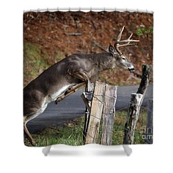 Shower Curtain featuring the photograph The Jumper by Douglas Stucky