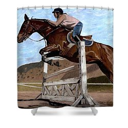 The Jumper - Horse And Rider Painting Shower Curtain by Patricia Barmatz