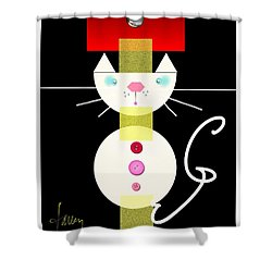 Shower Curtain featuring the mixed media The Junk Drawer Cat by Larry Talley