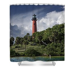 The Jupiter Inlet Lighthouse Shower Curtain by Laura Fasulo