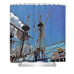 Shower Curtain featuring the photograph The Kalmar Nyckel - Delaware by Brendan Reals