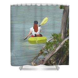 The Kayaker Shower Curtain by Rosalie Scanlon
