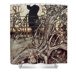 The Kensington Gardens Are In London Where The King Lives Shower Curtain by Arthur Rackham