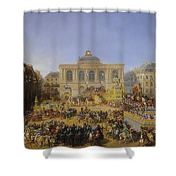 The Kermesse At Saint-omer In 1846 Shower Curtain by Auguste Jacques Regnier