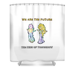 Shower Curtain featuring the painting The Kids Of Tomorrow Ariel And Darla by Shawn Dall