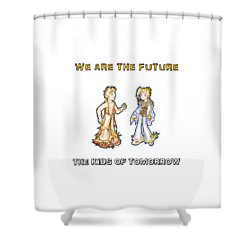 Shower Curtain featuring the digital art The Kids Of Tomorrow Corie And Albert by Shawn Dall