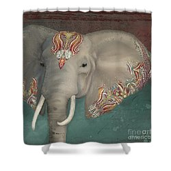 Shower Curtain featuring the painting The King - African Bull Elephant - Kashmir Paisley Tribal Pattern Safari Home Decor by Audrey Jeanne Roberts