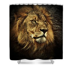 Shower Curtain featuring the mixed media The King by Elaine Malott