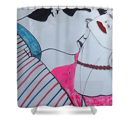 Shower Curtain featuring the painting The Kiss  by Don Koester