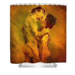 The Kiss Shower Curtain by Kurt Van Wagner