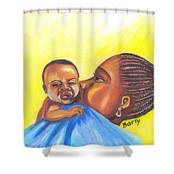 The Kiss Of A Mother In Senegal Shower Curtain by Emmanuel Baliyanga