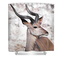 Shower Curtain featuring the digital art The Kudu Portrait by Ernie Echols