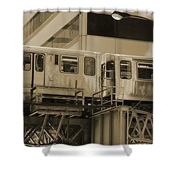 The L Downtown Chicago In Sepia Shower Curtain