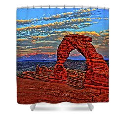 Shower Curtain featuring the photograph The La Sal Mountains And Arch by Scott Mahon