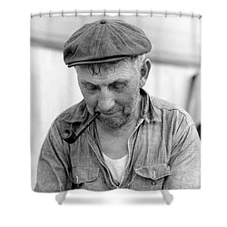 Shower Curtain featuring the photograph The Pipe Smoker by John Stephens