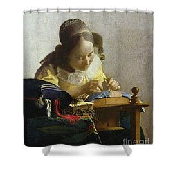 The Lacemaker Shower Curtain by Jan Vermeer