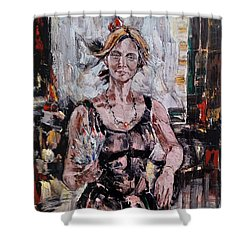 The Lady With The Fan Shower Curtain