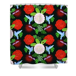 The Ladybird And The Hummingbird Shower Curtain