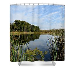 Shower Curtain featuring the photograph The Lake At Cadiz Springs by Kimberly Mackowski