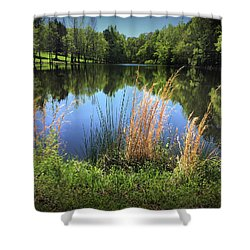 The Lake At Musgrove Mill Shower Curtain by Kelly Hazel