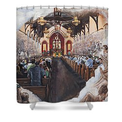 The Lamb's Supper Shower Curtain by Bryan Bustard